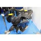こちらは東京R&Dが展示したホンダのスーパースポーツRC213V-S用の外装部品。すべてCFRP製で同社が量産まで担当した。