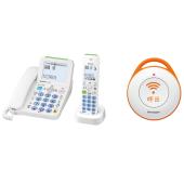 デジタルコードレス電話機/電話機用緊急呼出ボタン <左:JD-AT82CL(ホワイト系) 右:DZ-EC100(緊急呼出ボタン)>