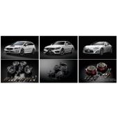 左上:スバル レヴォーグ STI Sport 左下:SonicPLUS SUBARU「SFR-S01M」中央上:メルセデス・ベンツ Cクラス 中央下:SonicPLUS CUSTOM「SC-205M」右上:トヨタ 86 右下:SonicPLUS「SP-868L」