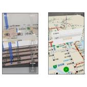 NAVITIME/乗換NAVITIME 屋内地図画面(左)とカーナビタイム/NAVITIMEドライブサポーター 渋滞フルマップ画面