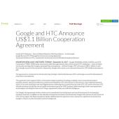 米グーグル、台湾HTCのスマホ部門の一部を11億ドルで買収