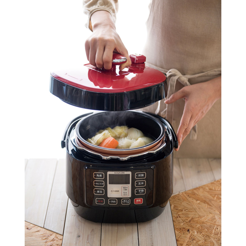 コイズミ、5段階圧力で時短・本格煮込みができるマイコン電気圧力鍋 画像2