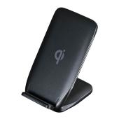 サンワ、「Qi」に対応したワイヤレス充電スタンド「WLC-STN13BK」