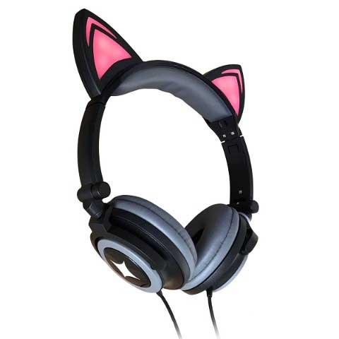 光る猫耳ヘッドフォン(黒猫)