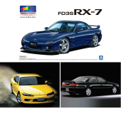 「1/24 マツダ FD3S RX-7 '99(イノセントブルーマイカ)」「1/24 ニッサン S15 シルビア Spec.R '99」「1/24 トヨタ JZX100 マークII ツアラーV '00」