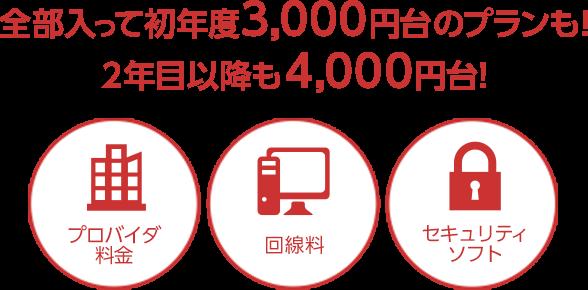 全部入って初年度3,000円台のプランも!2年目以降も4,000円台!プロバイダ料金、回線料、セキュリティソフト
