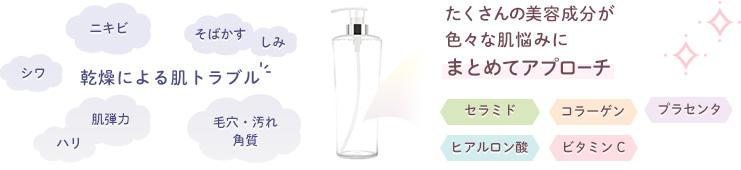 乾燥による肌トラブルにたくさんの美容成分が色々な肌悩みにまとめてアプローチ