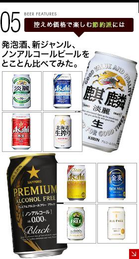 控えめ価格で楽しむ節約派には - 発泡酒、新ジャンル、ノンアルコールビールをとことん比べてみた。