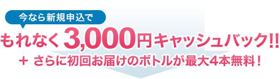 今なら新規申込でもれなく3,000円キャッシュバック!!さらに初回お届けのボトルが最大4本無料!