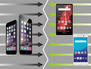 圧倒的な人気を誇るiPhoneと端末メーカー多いAndroidが拮抗