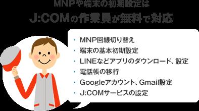 MNPや端末の初期設定は、J:COMの作業員が無料で対応