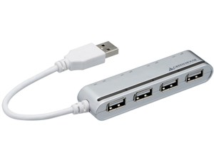 グリーンハウス 切り替えスイッチ付USB4ポートハブ GH-UH204SBS シルバ・・・