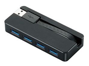 エレコム USBHUB3.0/ケーブル収納/バスパワー/4ポート/ブラック U3H-K402BB・・・
