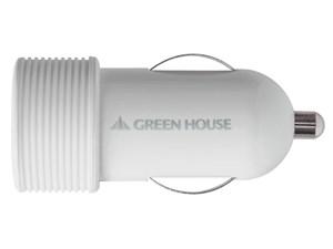 グリーンハウス 高出力2.1A USBシガーレット充電アダプタ ホワイト GH-CC-U1A・・・