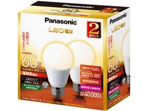 パナソニック LED電球 7.8W 2個入(電球色相当) LDA8LGK60ESW2・・・