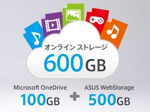 どこにいても使える合計600GBのオンラインストレージ