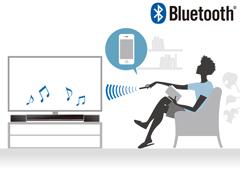 スマートフォンやタブレットからのワイヤレス操作で音楽を楽しめる、Bluetooth®に対応