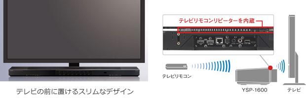 テレビの前に設置できるスリムなサウンドバー