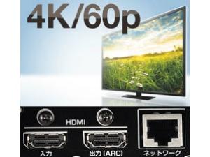4K/60p映像伝送や著作権保護技術HDCP2.2など、4Kフォーマット対応のHDMI端子を装備