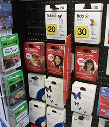 スーパーマーケットのプリペイドSIMカード売り場