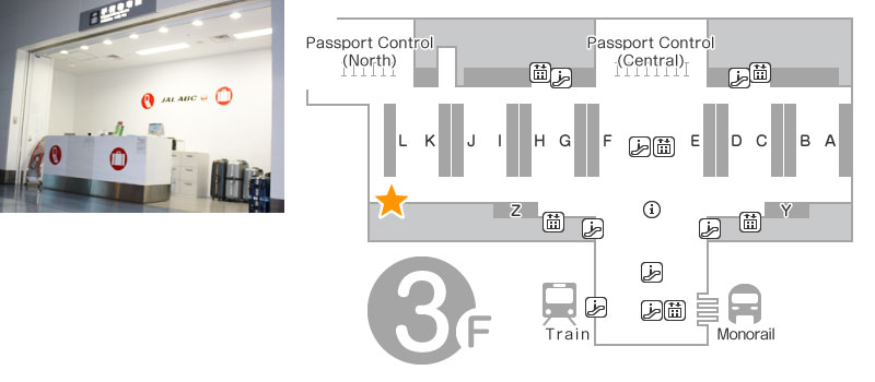 Departure Lobby 3F JALABC Departure Counter