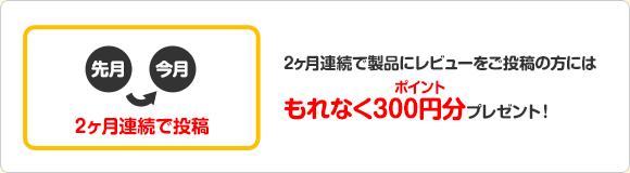 2ヶ月連続で製品にレビューご投稿の方にはもれなくポイント300円分プレゼント!