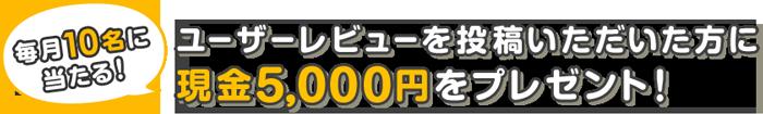 ����10���l�ɓ�����!!���[�U�[���r���[�𓊍e������������Ɍ���5,000�~���v���[���g�I