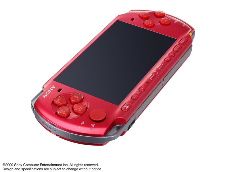 『本体 正面 斜め』 PSP プレイステーション・ポータブル ラディアント・レッド PSP-3000 RR の製品画像