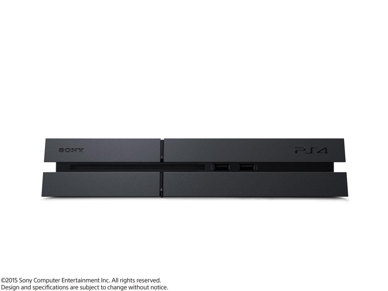 『本体 横置き 正面』 プレイステーション4 HDD 500GB ジェット・ブラック CUH-1200AB01 の製品画像