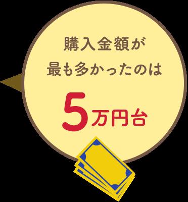 購入金額が最も多かったのは5万円台