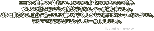 �G�R��猒�N���ߖ���A���낢�닩��Ă��邱�̂������B����Ԃ̔Y�݂��X�p�b�Ɖ�������Ȃ�A����ώ��]�Ԃł���B�ǂ������Ȃ�A�����ɍ����Ă��Ďg���₷���A�������ł���I�V�����Ȃ̂������B���K�}�}�Ȃ��Ȃ��Ƀs�b�^���̈��A�T���܂���B Illustration_aya404