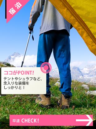 泊まりがけの登山用品:リュック・テント・シュラフ