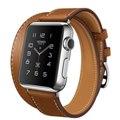 Apple Watch Hermes ドゥブルトゥール38mmステンレススチールケースとヴォー・バレニア(フォーヴ)レザーストラップ