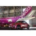 関西空港に導入される「#PinkBeetle」のランプカー。計5台が6カ月間活躍する予定。