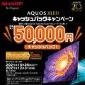 AQUOS XLED キャッシュバックキャンペーン