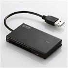 [MR-K002BK] コネクタ固定機能を搭載した42+6メディア対応ケーブル一体型カードリーダー(ブラック)。価格は2,310円(税込)