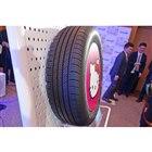 「ハローキティタイヤ」のサイズラインナップは未定。展示品は195/65R15だった。