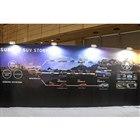 スバルのSUVの歴史を振り返るパネル展示。