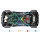 車体のフロア下には、ボディー剛性を最適化するためのさまざまなブレースが装着されている。