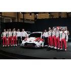 WRCの体制発表会に臨んだ、TOYOTA GAZOO Racingのチーム監督と選手。