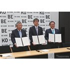 左から、兵庫三菱自動車販売の西原興一郎社長、神戸市の油井洋明副市長、三菱自動車の若林陽介執行役員