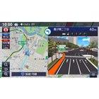 政令指定都市で表示される3Dリアル交差点拡大図。車線ガイドも精密だ