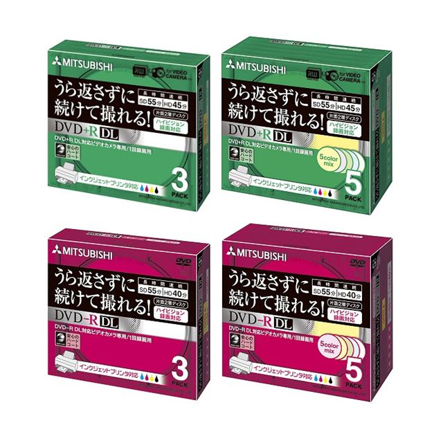 [VTR55NP3/VTR55NPM5/VHR55YP3/VHR55YPM5] ビデオカメラ録画用8cm DVD+R/-R DLメディア