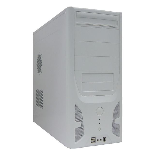 [AC400-22W] 400W電源を搭載したミドルタワー型PCケース (ホワイト)