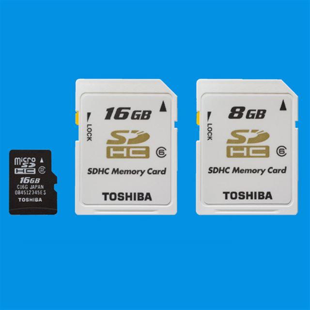 [SD-ME016GA(左)/SD-C16GT6(中央)/SD-C08GT6(右)] 大容量のSDHCカード。価格はオープン