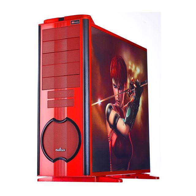 [ECA5001-R (UBAR CHAKRA Limited Ruby Editionモデル)] AMDのキャラクター「RUBY」のイラストを側面にデザインしたExtended ATX/ATX/Micro-ATX対応フルタワーPCケース。市場想定価格は29,800円前後