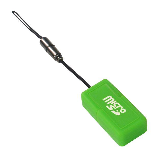 [USB2-SDMC/GR] 重量約8gのラバーボディを採用したmicroSD/SDHCカード専用カードリーダー(グリーン)。本体価格は1,040円