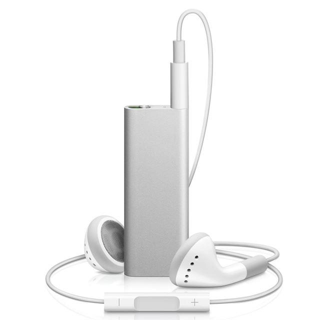 [iPod shuffle] VoiceOver機能を搭載した第3世代のiPod shuffle(シルバー/4GB)。価格は8,800円(税込)