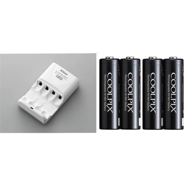 [Ni-MHリチャージャブルバッテリー EN-MH2-B4セット] COOLPIX L100用リチャージャブルバッテリーとバッテリーチャージャーのセット。価格は6,930円(税込)