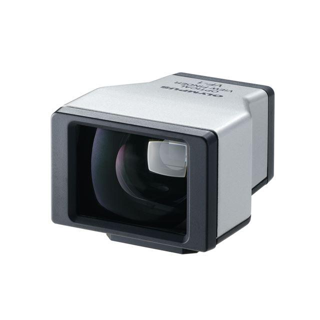 [光学ビューファインダー VF-1] マイクロフォーサーズ規格用パンケーキレンズ「M.ZUIKO DIGITAL 17mm F2.8」使用時の専用ビューファインダー。価格は18,375円(税込)